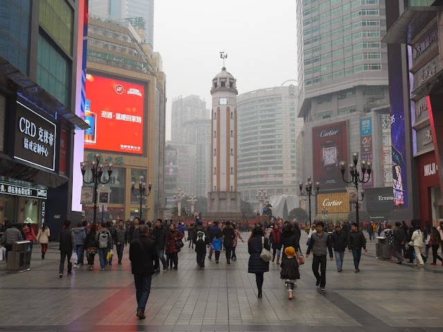 view of the Chongqing People's Liberation Monumentand the Jiefangbei Pedestrian Street's central square facing northwest