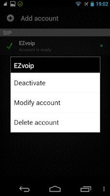 Zoiper Android EZvoip Modify account