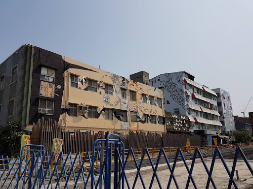 Artsy industrial buildings at Yanchengpu in Kaohsiung Taiwan
