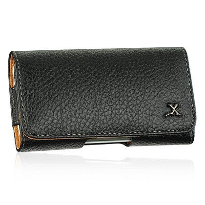Black Horizontal Leather Case w/ Belt Clip for Sony Ericsson Xperia X10 (AT & T) + Car Charger