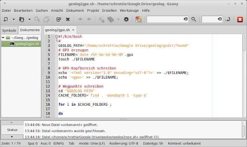 Editor Geany mit geöffnetem Shellscript