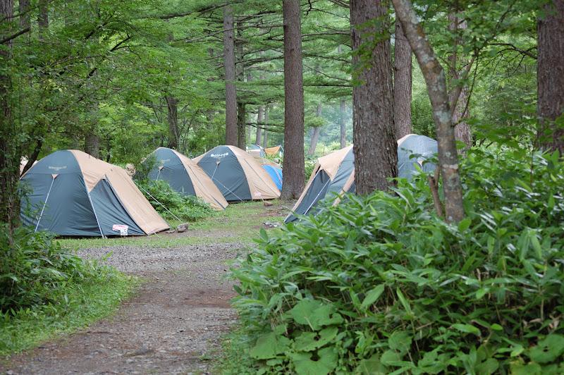 小梨平キャンプ場の既設テントの写真
