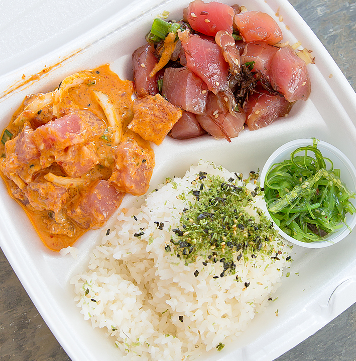 overhead photo of Spicy Mayo and Shoyu tuna poke bowl