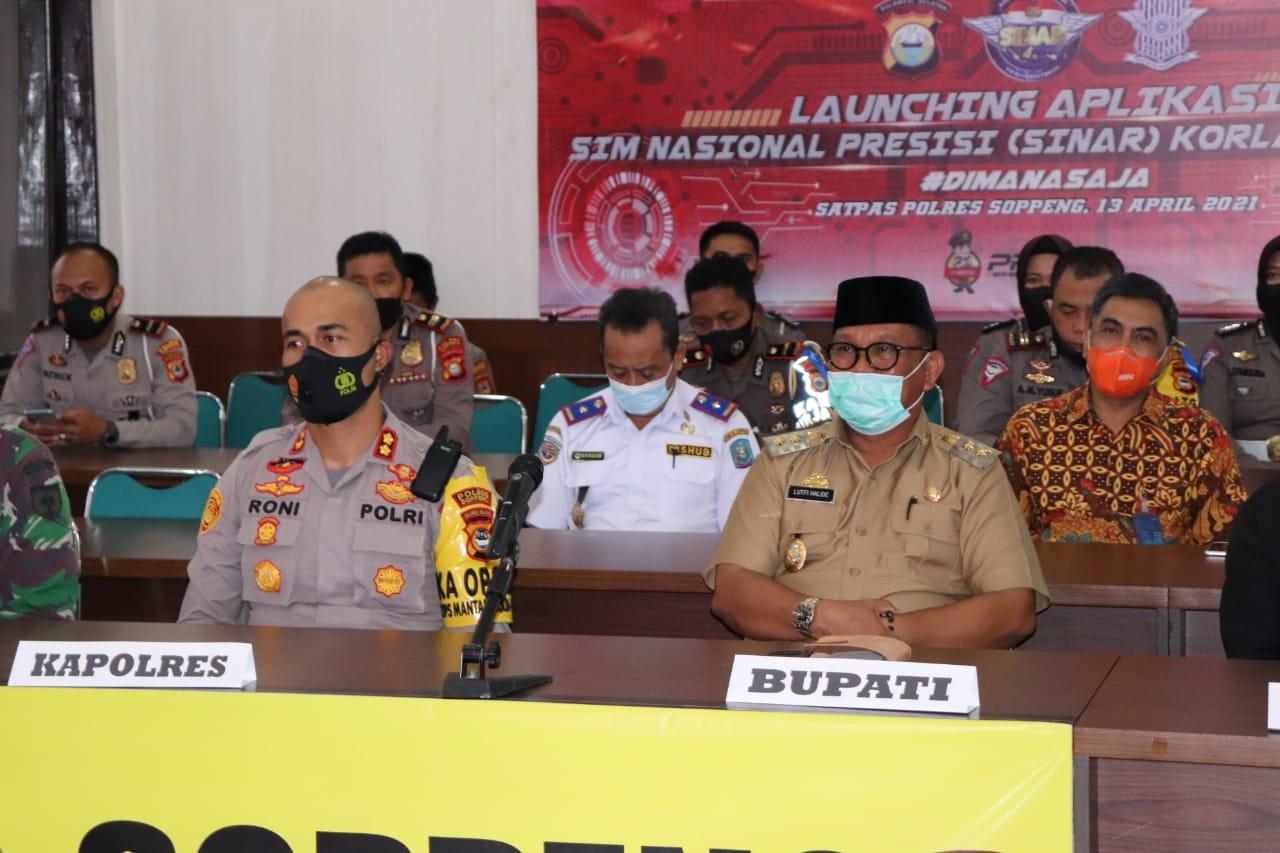 Kapolres Soppeng dan Wakil Bupati Serta Unsur Forkopimda Mengikuti Launching Sim Nasional Presisi