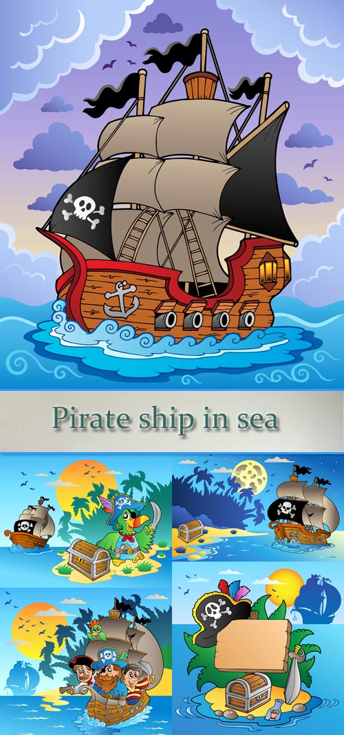 Stock: Pirate ship in sea
