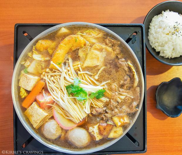 overhead photo of Satay Beef Hot Pot