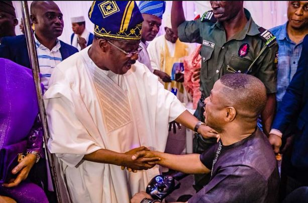 Photos:- Ajimobi And Yinka Ayefele Meet At Olubadan's 90th Birthday (See What Happened)