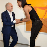 WWW.ENTSIMAGES.COM -   Wayne Sleep and  Jade Johnson  at   Julio Larraz - Rules of Engagement - private view at Contini Art UK, London October 2nd 2014Private view of exhibition devoted to the paintings by Cuban born artist Julio Larraz, his first major solo exhibition in London, featuring paintings, sculptures and caricatures.                                                Photo Mobis Photos/OIC 0203 174 1069