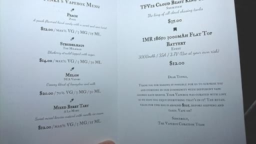 DSC 3762 thumb%255B9%255D - 【リキッド定期便】VAPEBOX リキッド&ハード定期便「PEACH」「MELON」「STRUDELHAUS」「MIXED BERRY TART」「TFV12 CLOUD BEAST KINGタンク」「EFEST IMR18650バッテリー」レビュー! 【2017年5月のBOX】