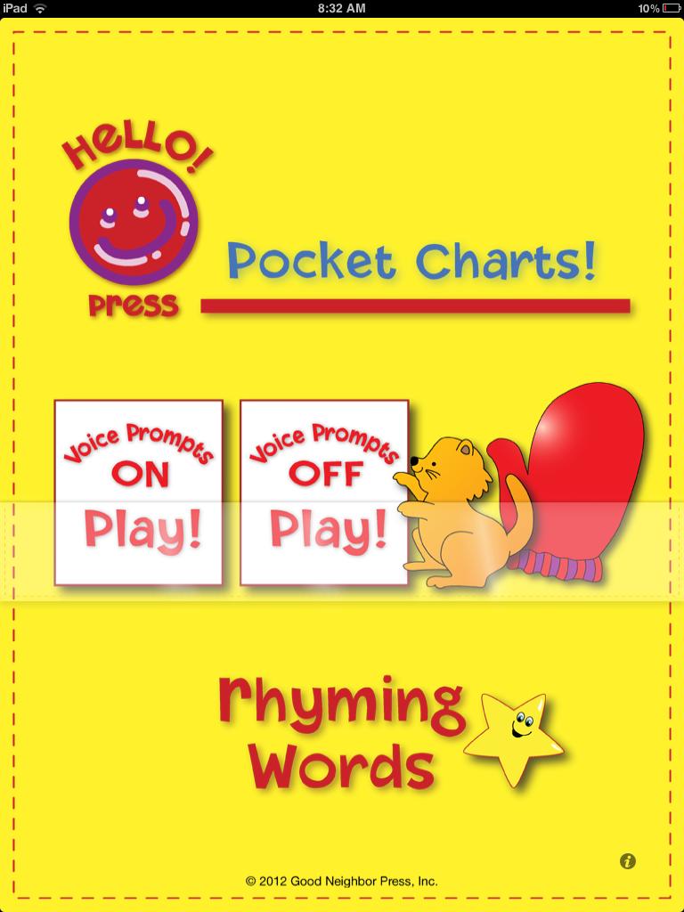 Pocket Charts Rhyming Words Main Page