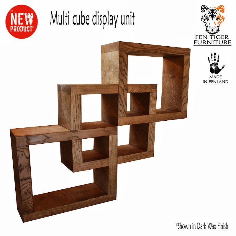 Solid Oak Wood Cube Display Unit