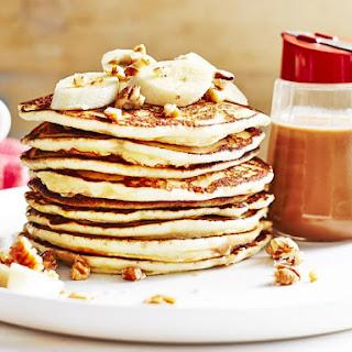 Pancakes with Bananas and Hot Pecan Sauce