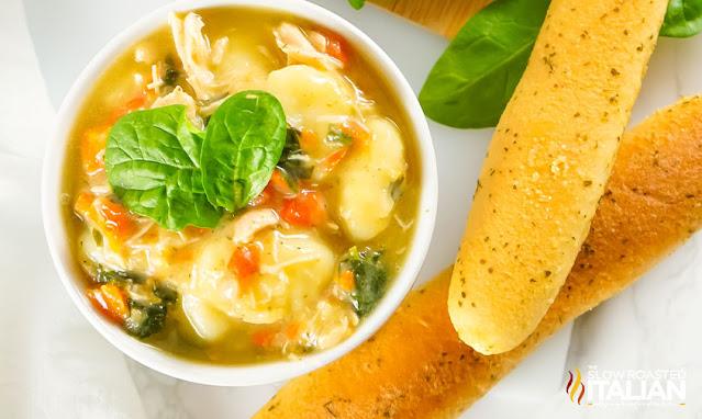 gnocchi chicken soup with bread sticks