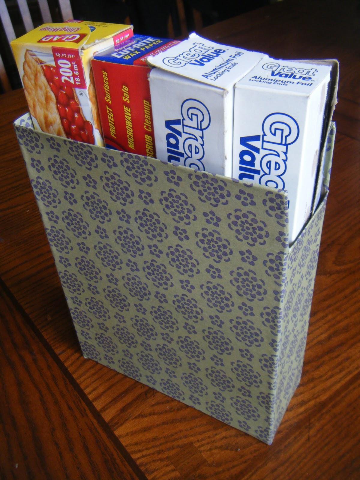 cheerful heart mom: diy magazine holder or kitchen wraps organizer