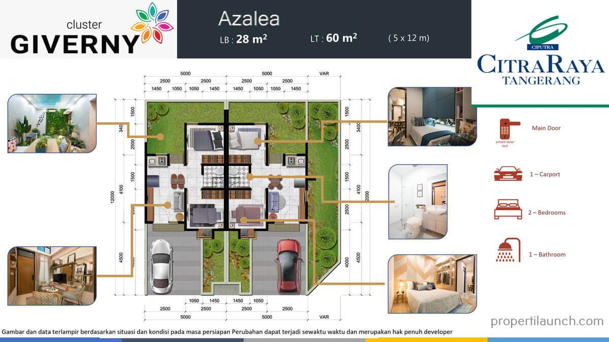 Denah Rumah Giverny Citra Raya Tipe 5x12
