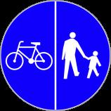 C-13 + C-16  droga dla pieszych i rowerów Znak kompilacji C-13 i C-16 oznacza drogę, na której dopuszcza się tylko ruch pieszych i rowerów.  Ruch pieszych i rowerzystów odbywa się odpowiednio po stronach drogi wskazanych na znaku, jeżeli symbole oddzielone są kreską pionową.  W tym przypadku ruch pieszych odbywa się po prawej stronie drogi, a ruch rowerzystów po lewej.