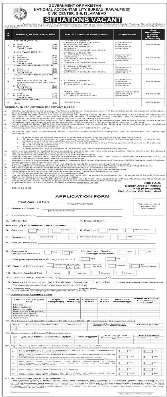 NAB Jobs 2021 Latest Advertisement