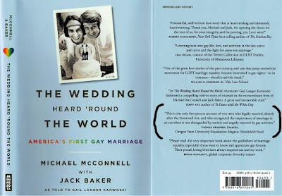 Cover jacket of 2016 book by Michael McConnell, with Jack Baker, about the world's first gay marriage