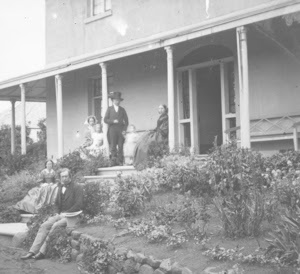 Family on steps of 'Summerhome, near Hobart