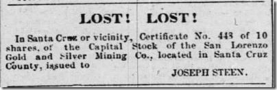 Joseph Steen Lost Stock Certificate Santa Cruz Weekly Sentinel 12 Nov 1864 Sat page 3