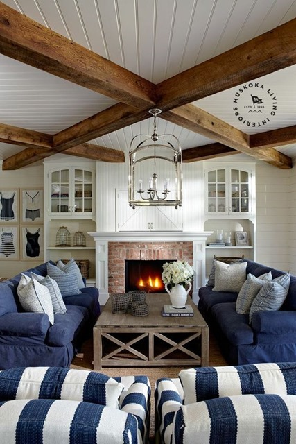 navy white living room