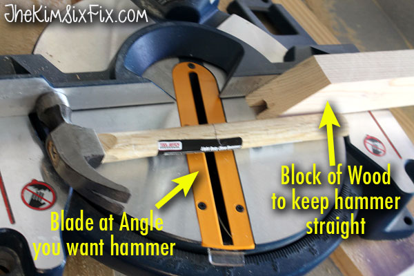 How to cut a hammer handle with miter saw