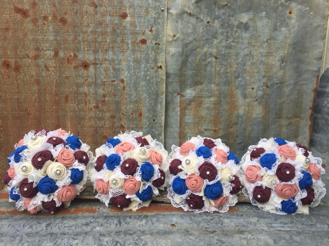 burlap and lace bridesmaid bouquets for vintage themed wedding
