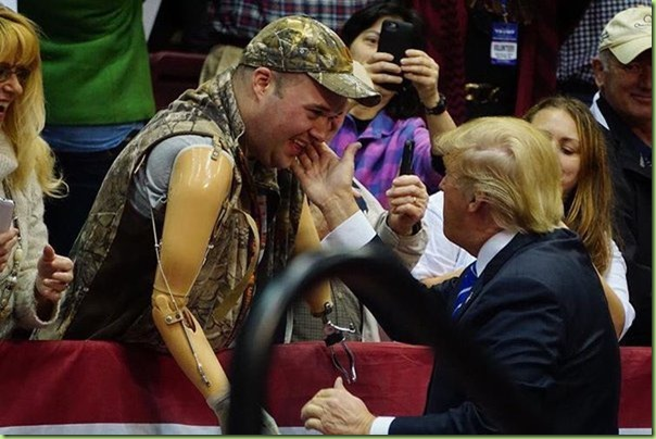 trump touches face and heart of vet