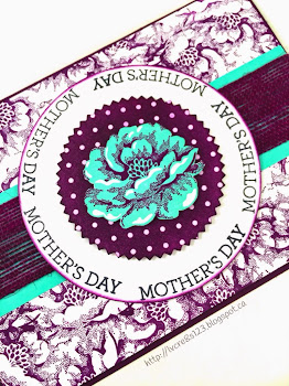 Linda Vich Creates: Stippled Blossoms Background Technique. One stamp from the Stippled Blossoms stamp set is all that is needed to create a fabulous background to showcase a circular sentiment and fussy cut flower on this lovely Mother's Day card.