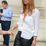 WWW.ENTSIMAGES.COM -  Fern McCann   leaving    The Design Collective for Evans at The Freemasons Hall, LondonSeptember 16th 2014Show hosted by Arcadia Group owner Sir Philip Green as plus size retailer Evans makes its debut on the London Fashion Week schedule.                                                   Photo Mobis Photos/OIC 0203 174 1069