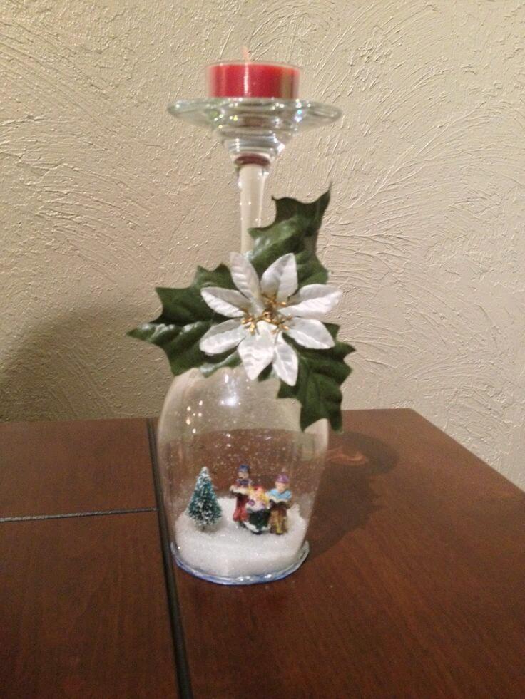 Crea una escena navide a en el interior de una copa de cristal - Centros navidenos de mesa ...