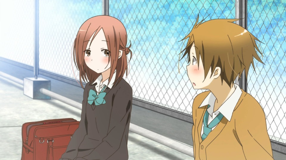 Fujimiya and Hase sit together on the roof during lunch