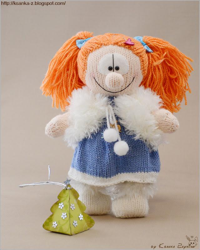 вязаная кукла, амигуруми, игрушка для девочки, рыжая кукла, кукла спицами