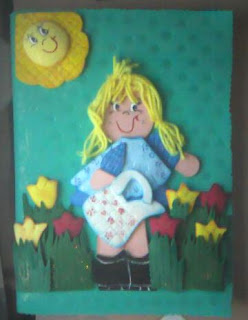 Cuaderno decorado con muñequita countri con foami