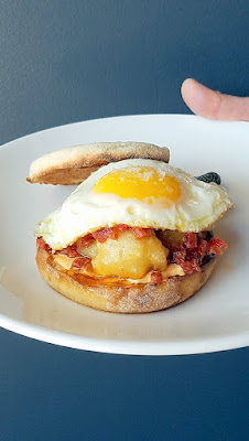 Lincoln Restaurant, Happy Hour item of English Muffin Fontina in Carroza, egg, sopresseta