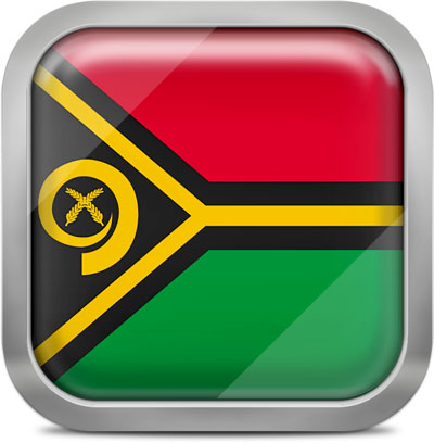 Vanuatu square flag with metallic frame