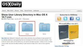 Show User Library Directory in Mac OS X 10.7 Lion