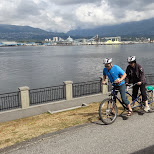 tandem biking in Stanley Park in Vancouver, British Columbia, Canada