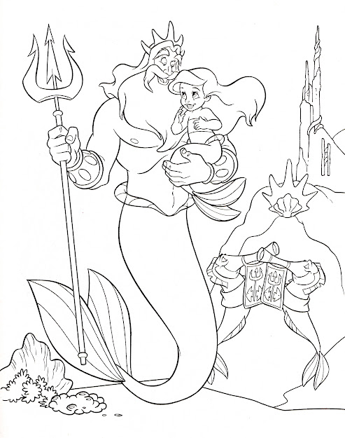 Walt Disney Coloring Page Of King Triton And Princess Ariel From The  Little Mermaid Ariels Beginning Hd Wallpaper And Background Photos Of  Walt Disney