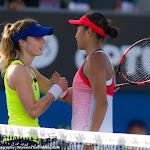 Alize Cornet, Shuai Zhang in action at the 2016 Australian Open