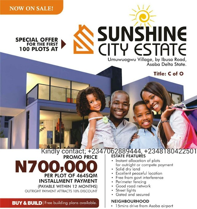 SUNSHINE CITY ESTATE, ASABA, DELTA STATE (LAND FOR SALE)