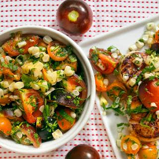 Seared Scallops + Southwest Corn & Tomato Salad