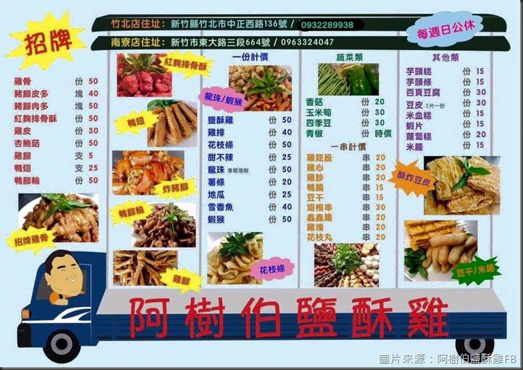 阿樹伯鹽酥雞-菜單