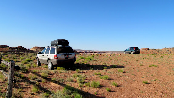 Sharing the trailhead with one other vehicle