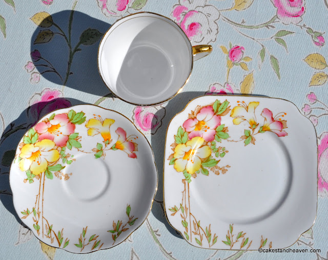Azalea pink, yellow and green hand painted bone china