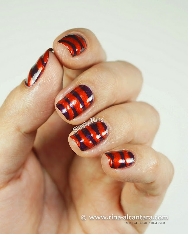 Orange and Purple Pinstripe Nail Art Design by Simply Rins
