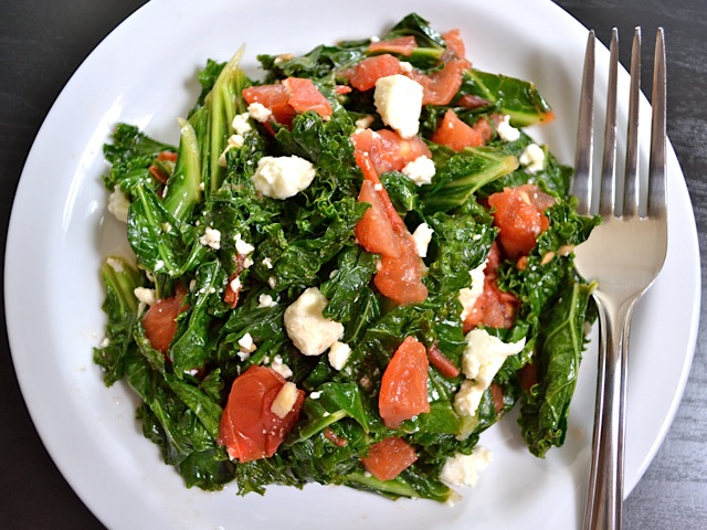 Kale with Tomatoes and Feta - BudgetBytes.com
