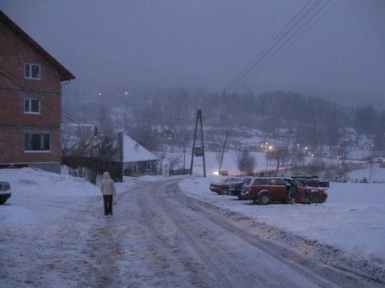 szklarska poręba zimą, w drodze do pensjonatu