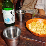 soju and snacks in Hongdae in Seoul, Seoul Special City, South Korea