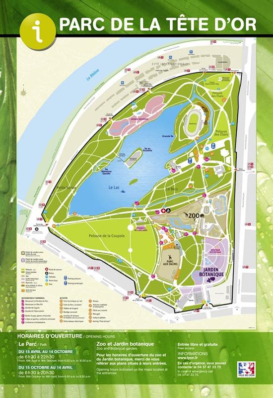 plan Parc de la Tête d'Or Lyon